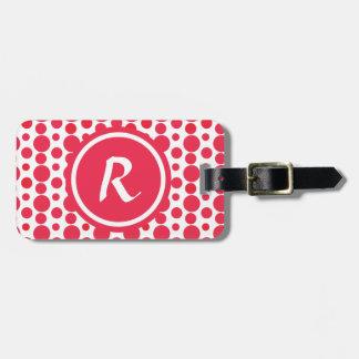 Modelo de puntos rojo personalizado del monograma etiqueta de equipaje