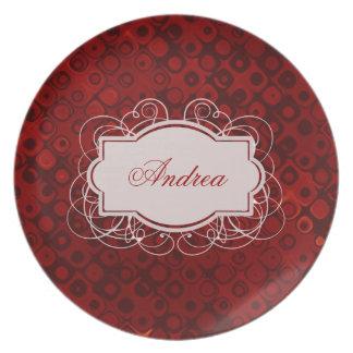 Modelo de puntos rojo retro con monograma plato de comida