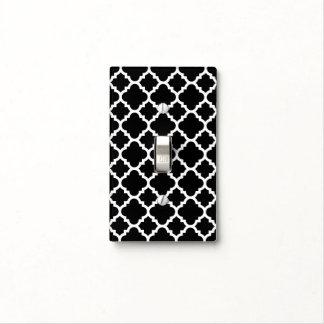 Modelo de Quatrefoil - blanco y negro Cubierta Para Interruptor