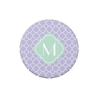 Modelo de Quatrefoil de la lavanda con el monogram Jarrones De Dulces