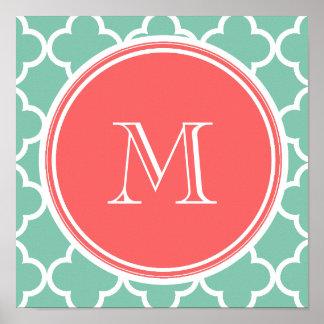 Modelo de Quatrefoil de la verde menta, monograma  Impresiones