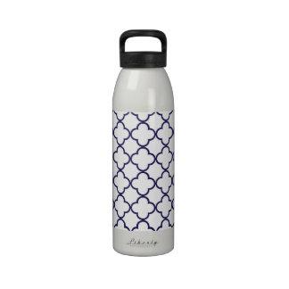 Modelo de Quatrefoil de los azules marinos Botellas De Agua Reutilizables