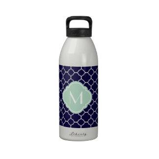 Modelo de Quatrefoil de los azules marinos con el  Botellas De Agua Reutilizables