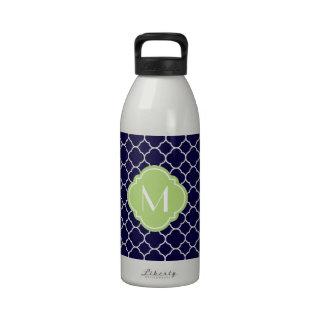 Modelo de Quatrefoil de los azules marinos con el  Botella De Agua Reutilizable