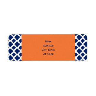 Modelo de Quatrefoil del azul real con el naranja Etiquetas De Remite