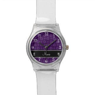 Modelo de reciclaje púrpura conocido personalizado relojes
