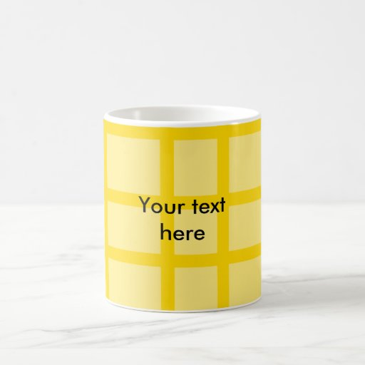 Modelo de rejilla amarillo moderno taza