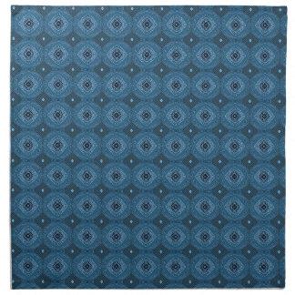 Modelo de rejilla azul del diamante del círculo servilletas de papel