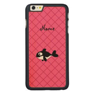 Modelo de rejilla conocido personalizado del rosa funda de arce carved® para iPhone 6 plus