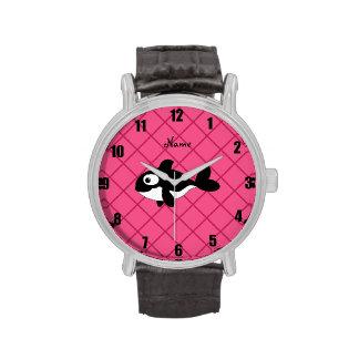 Modelo de rejilla conocido personalizado del rosa relojes de mano
