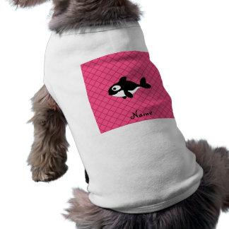 Modelo de rejilla conocido personalizado del rosa  playera sin mangas para perro