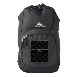 Modelo de rejilla negro conocido personalizado mochila