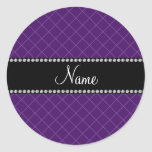 Modelo de rejilla púrpura conocido personalizado etiqueta