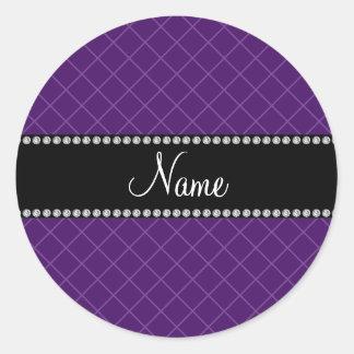 Modelo de rejilla púrpura conocido personalizado pegatina redonda