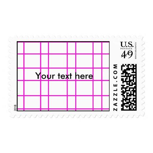 Modelo de rejilla rosado moderno timbre postal