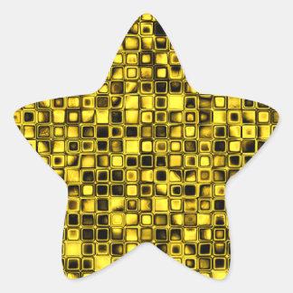 Modelo de rejilla texturizado amarillo y negro bri calcomanías forma de estrella