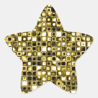 Modelo de rejilla texturizado Grunge amarillo Calcomanías Forma De Estrella