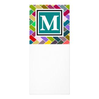 Modelo de repetición con monograma del ladrillo tarjetas publicitarias a todo color