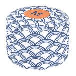 Modelo de Seigaiha del azul real del monograma con