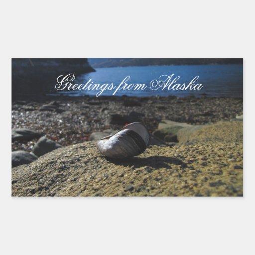 Modelo de Shell del mejillón; Recuerdo de Alaska Pegatina Rectangular