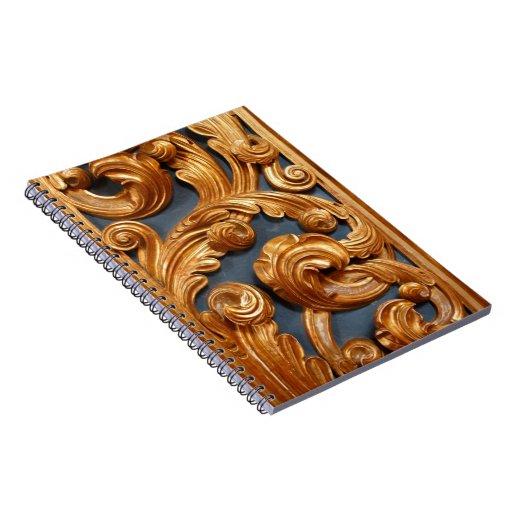 Modelo de talla de madera de oro libros de apuntes con espiral