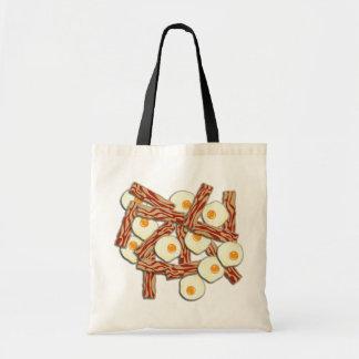 Modelo de tocino y de los huevos bolsas lienzo