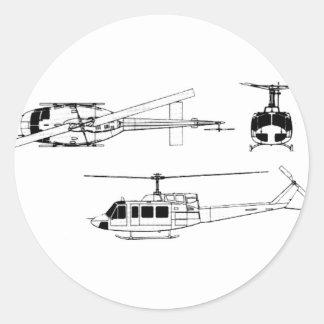 Modelo de UH1 Huey (Iriquois) Pegatina Redonda
