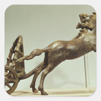 Modelo de un carro de dos caballos calcomanías cuadradases