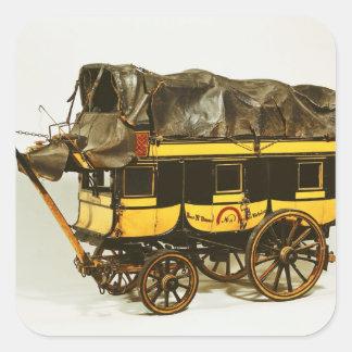 Modelo de un omnibus de cuarenta asientos pegatina cuadradas personalizada