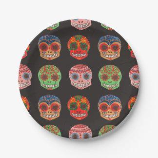 Modelo de Watercolor Dia de los Muertos Skulls Platos De Papel