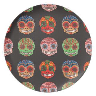 Modelo de Watercolor Dia de los Muertos Skulls Platos Para Fiestas