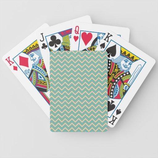 Modelo de zigzag alegre de la verde menta cartas de juego