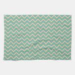 Modelo de zigzag alegre de la verde menta toallas de cocina