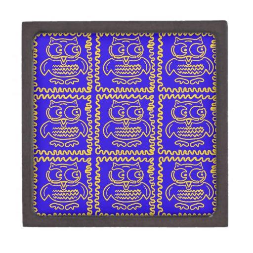 Modelo de zigzag amarillo azul de los búhos colori caja de recuerdo de calidad