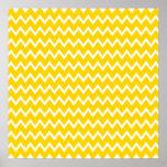 Modelo de zigzag amarillo y blanco poster
