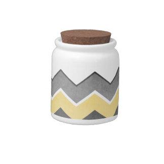 Modelo de zigzag amarillo y gris tarro de cerámica para dulces