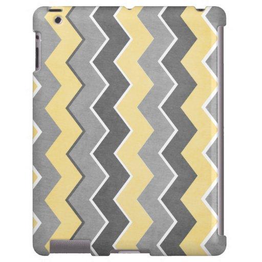 Modelo de zigzag amarillo y gris funda para iPad