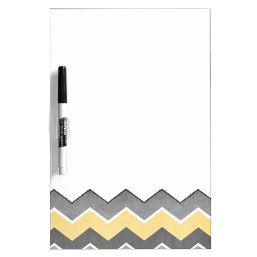 Modelo de zigzag amarillo y gris pizarras blancas de calidad