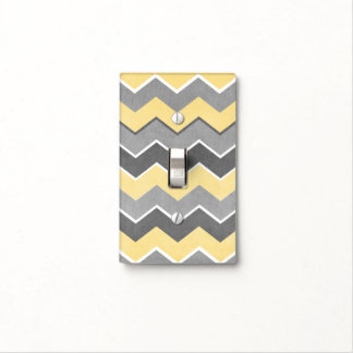 Modelo de zigzag amarillo y gris placas para interruptor