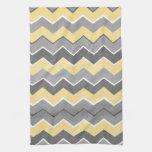 Modelo de zigzag amarillo y gris toalla de mano