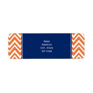 Modelo de zigzag anaranjado con el azul real etiquetas de remite