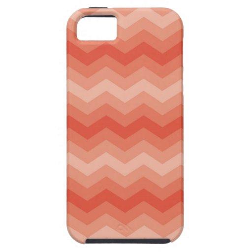 Modelo de zigzag anaranjado coralino del galón del iPhone 5 coberturas