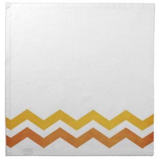Modelo de zigzag anaranjado y amarillo servilletas imprimidas