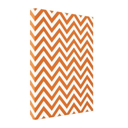 Modelo de zigzag anaranjado y blanco impresion de lienzo