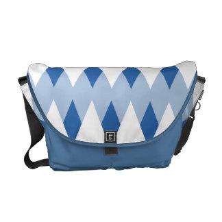 Modelo de zigzag azul con formas del diamante bolsa messenger