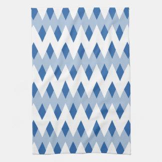 Modelo de zigzag azul con formas del diamante toalla de mano