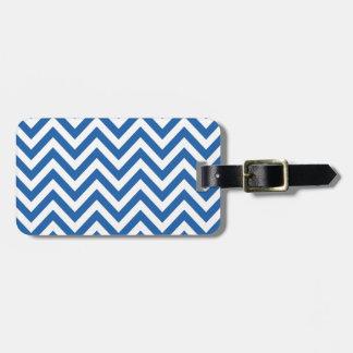 Modelo de zigzag azul y blanco de Chevron Etiqueta Para Equipaje