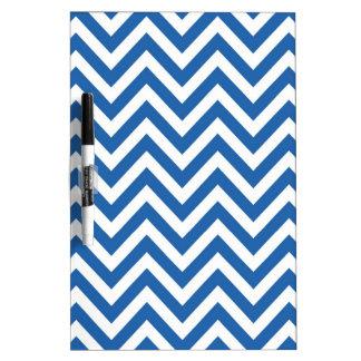 Modelo de zigzag azul y blanco de Chevron Pizarras Blancas
