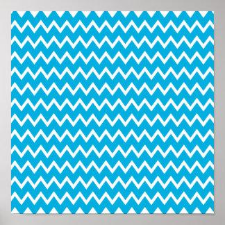 Modelo de zigzag azul y blanco poster