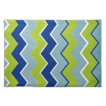 Modelo de zigzag azul y verde manteles